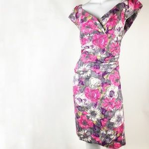 Suzi Chin/ Maggy Boutique Floral Ruched Sheath 10